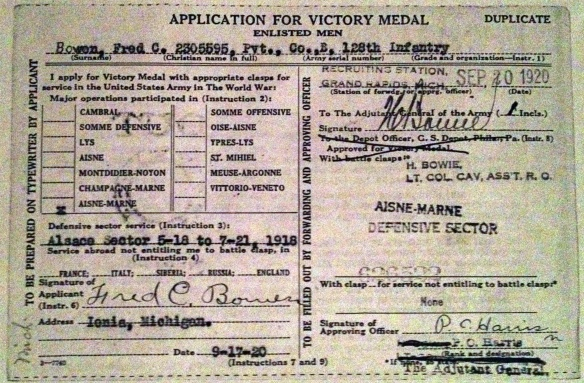 Bowen, Fred C., Application for Victory Medal (RG 85-78, Box ??), Archives of Michigan.